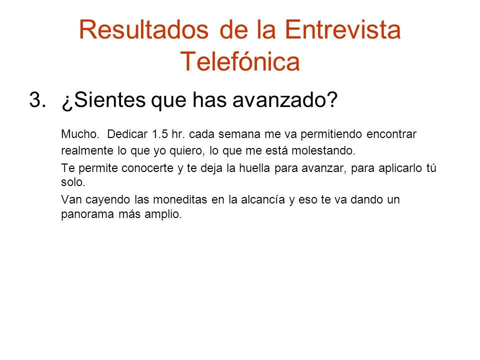 Resultados de la Entrevista Telefónica 3.¿Sientes que has avanzado? Mucho. Dedicar 1.5 hr. cada semana me va permitiendo encontrar realmente lo que yo