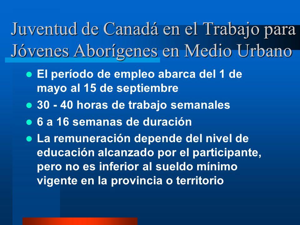 Juventud de Canadá en el Trabajo para Jóvenes Aborígenes en Medio Urbano El período de empleo abarca del 1 de mayo al 15 de septiembre 30 - 40 horas de trabajo semanales 6 a 16 semanas de duración La remuneración depende del nivel de educación alcanzado por el participante, pero no es inferior al sueldo mínimo vigente en la provincia o territorio