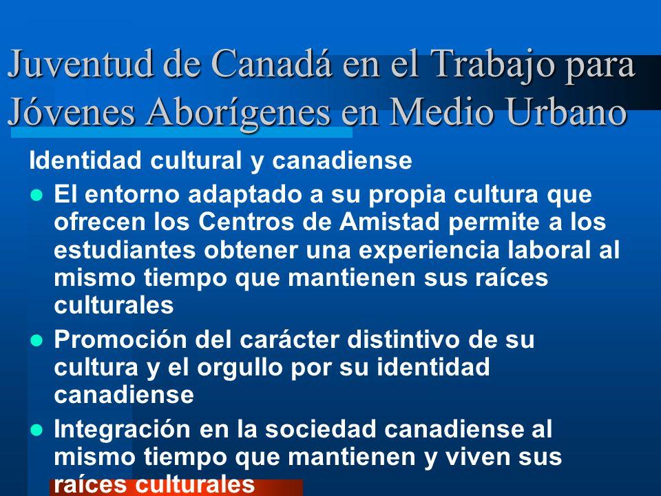 Juventud de Canadá en el Trabajo para Jóvenes Aborígenes en Medio Urbano Identidad cultural y canadiense El entorno adaptado a su propia cultura que ofrecen los Centros de Amistad permite a los estudiantes obtener una experiencia laboral al mismo tiempo que mantienen sus raíces culturales Promoción del carácter distintivo de su cultura y el orgullo por su identidad canadiense Integración en la sociedad canadiense al mismo tiempo que mantienen y viven sus raíces culturales