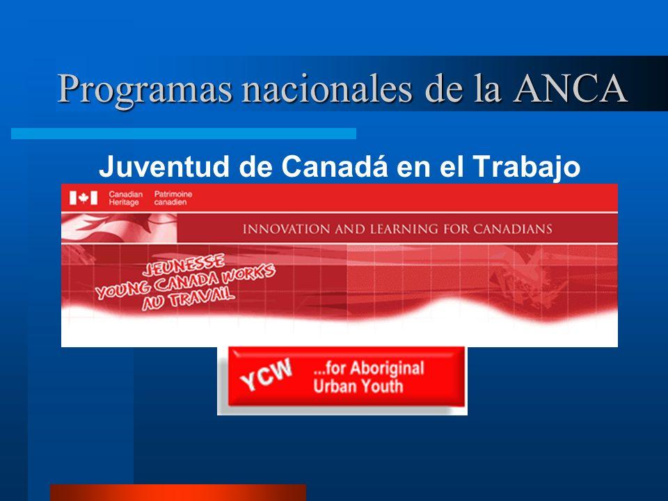 Programas nacionales de la ANCA Juventud de Canadá en el Trabajo