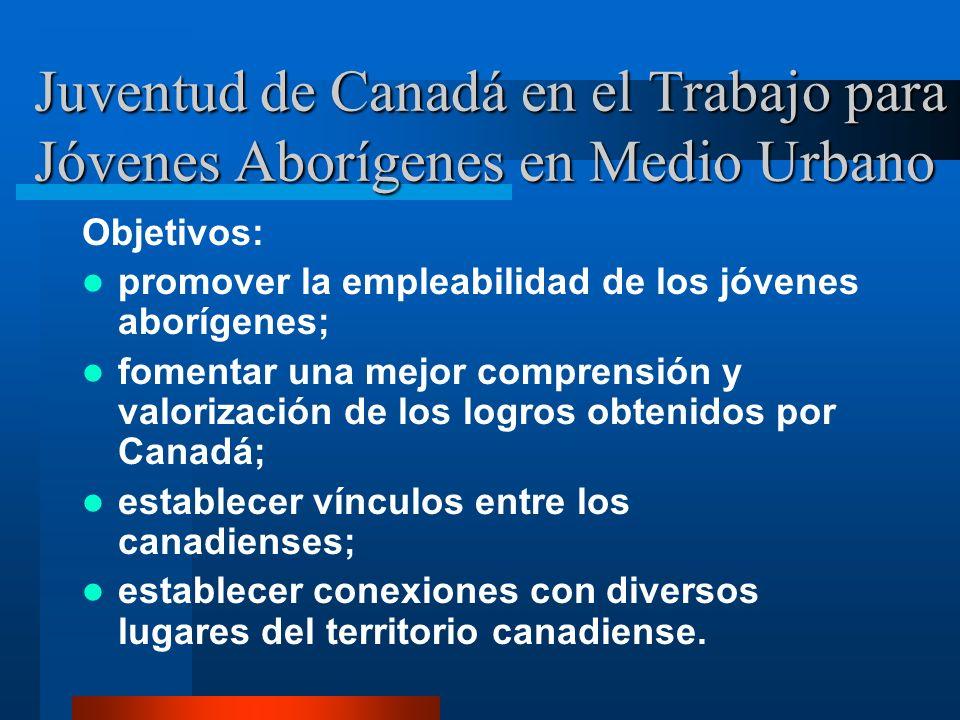 Juventud de Canadá en el Trabajo para Jóvenes Aborígenes en Medio Urbano Objetivos: promover la empleabilidad de los jóvenes aborígenes; fomentar una mejor comprensión y valorización de los logros obtenidos por Canadá; establecer vínculos entre los canadienses; establecer conexiones con diversos lugares del territorio canadiense.