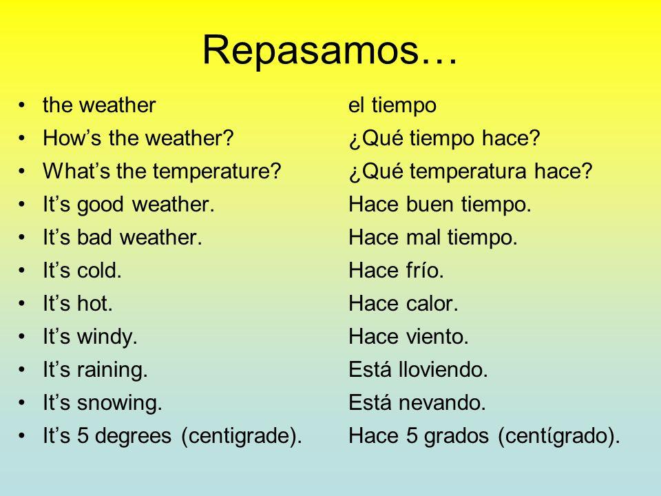 ¿Qué temperatura hace? the temperaturela temperatura degrees grados Hace 0 grados. The temperature is 0 degrees. * Culture Tip: Spanish-speaking count