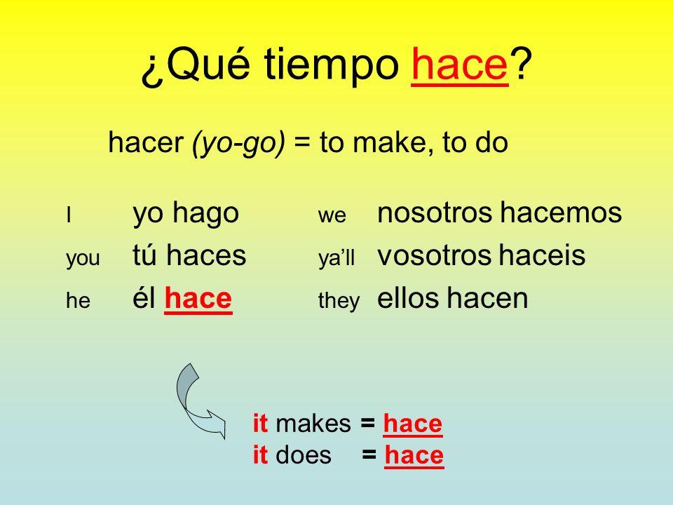 hacer (yo-go) = to make, to do I yo hago we nosotros hacemos you tú haces yall vosotros haceis he él hace they ellos hacen it makes = hace it does = hace