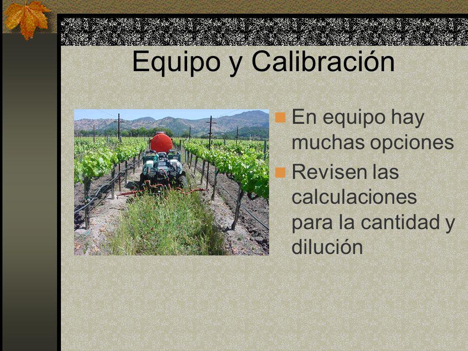 Equipo y Calibración En equipo hay muchas opciones Revisen las calculaciones para la cantidad y dilución