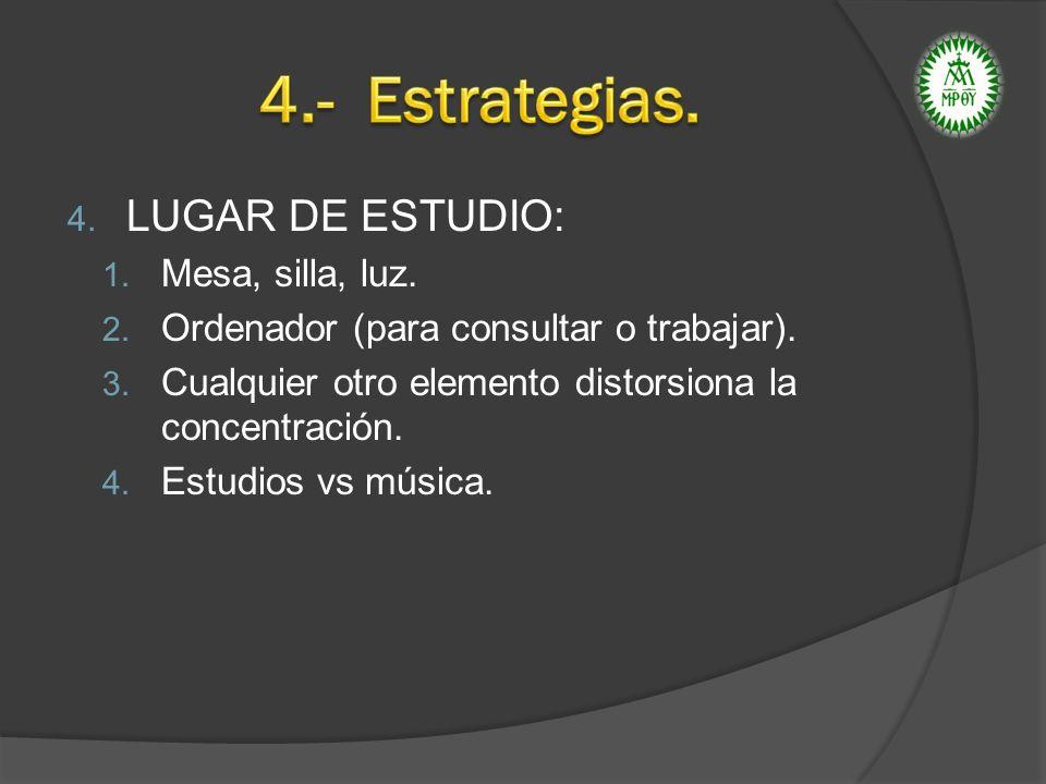 4. LUGAR DE ESTUDIO: 1. Mesa, silla, luz. 2. Ordenador (para consultar o trabajar). 3. Cualquier otro elemento distorsiona la concentración. 4. Estudi