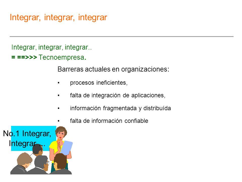 Integrar, integrar, integrar.. = ==>>> Tecnoempresa. Barreras actuales en organizaciones : procesos ineficientes, falta de integración de aplicaciones