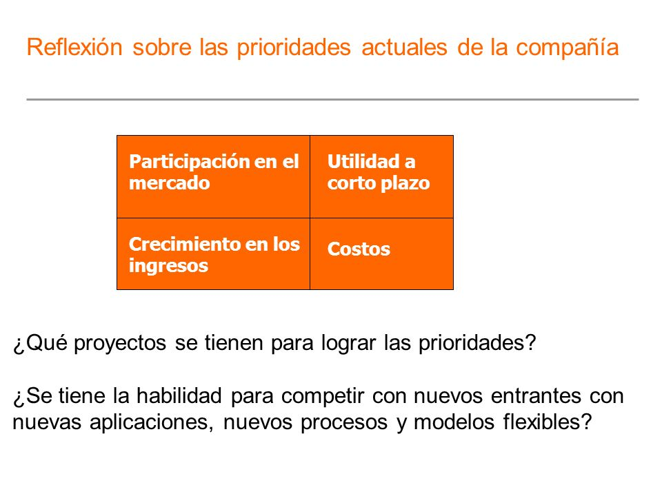 Participación en el mercado Utilidad a corto plazo Crecimiento en los ingresos Costos ¿Qué proyectos se tienen para lograr las prioridades? ¿Se tiene