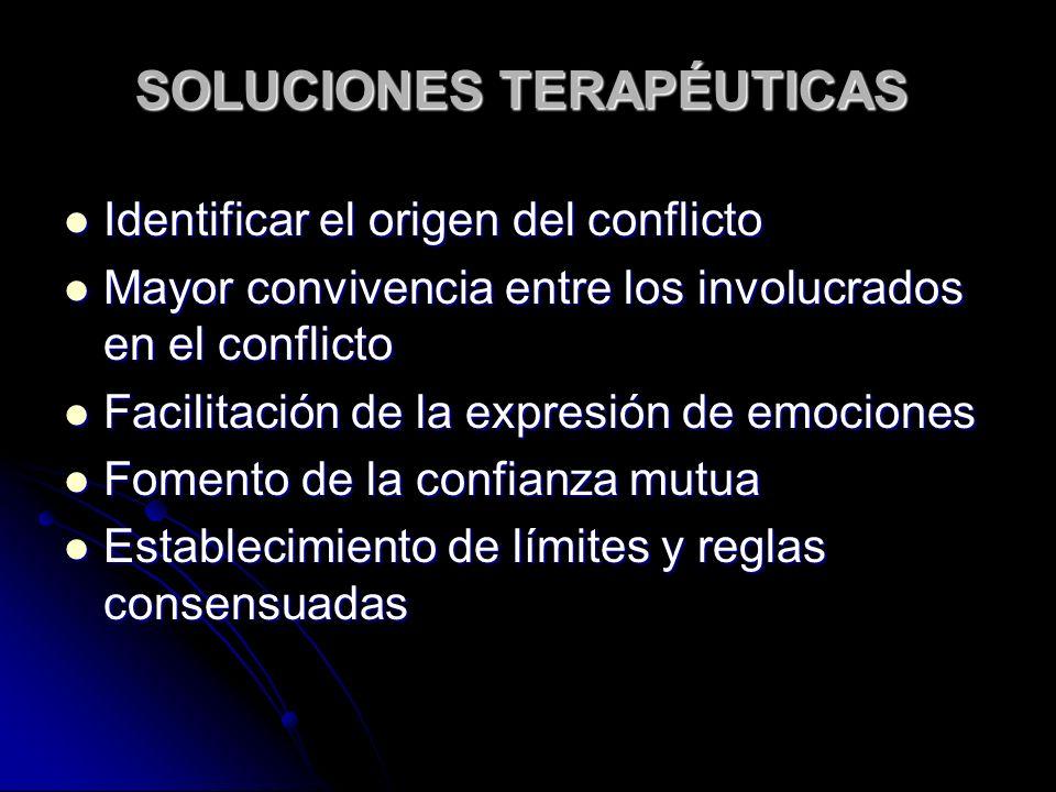 SOLUCIONES TERAPÉUTICAS Identificar el origen del conflicto Identificar el origen del conflicto Mayor convivencia entre los involucrados en el conflicto Mayor convivencia entre los involucrados en el conflicto Facilitación de la expresión de emociones Facilitación de la expresión de emociones Fomento de la confianza mutua Fomento de la confianza mutua Establecimiento de límites y reglas consensuadas Establecimiento de límites y reglas consensuadas
