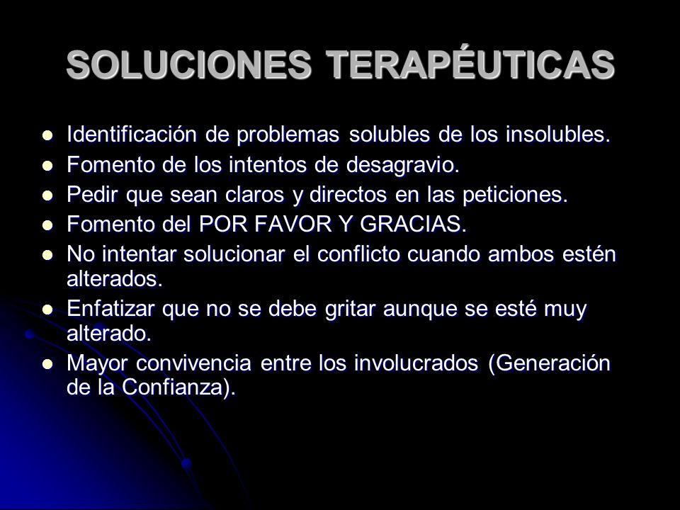 SOLUCIONES TERAPÉUTICAS Identificación de problemas solubles de los insolubles.