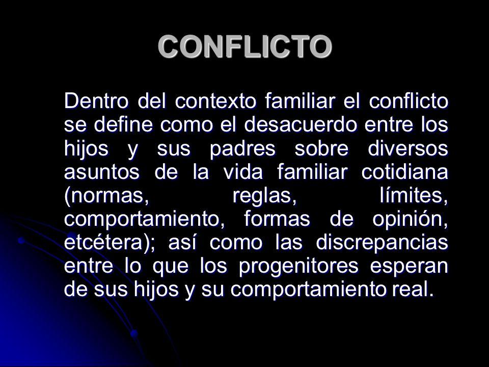 CONFLICTO Dentro del contexto familiar el conflicto se define como el desacuerdo entre los hijos y sus padres sobre diversos asuntos de la vida famili