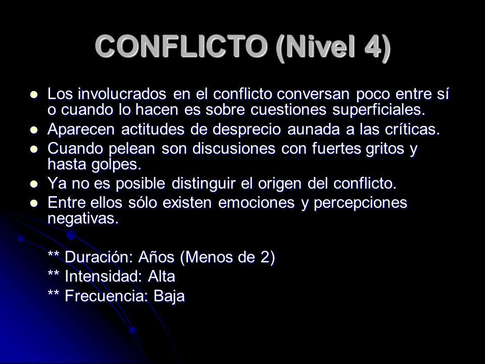 CONFLICTO (Nivel 4) Los involucrados en el conflicto conversan poco entre sí o cuando lo hacen es sobre cuestiones superficiales. Los involucrados en