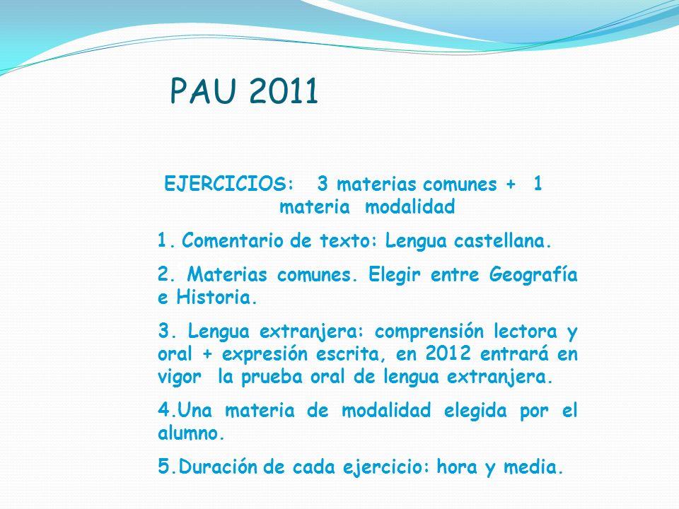 PAU 2011 1. Comentario de texto / Lengua castellana EJERCICIOS: 3 materias comunes + 1 materia modalidad 1.Comentario de texto: Lengua castellana. 2.
