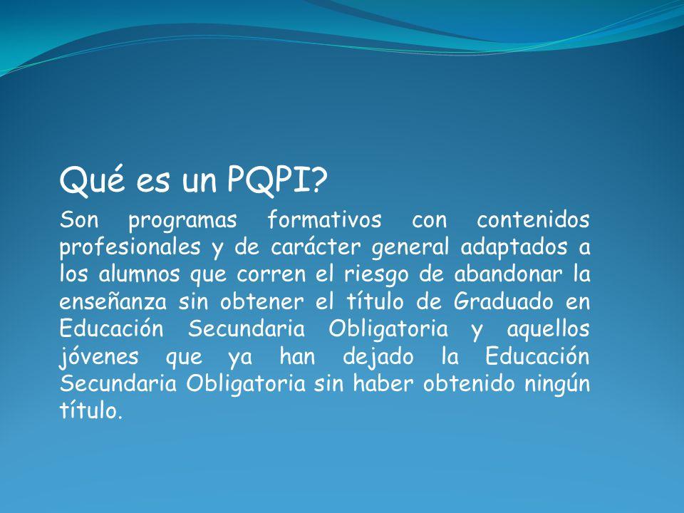 Qué es un PQPI? Son programas formativos con contenidos profesionales y de carácter general adaptados a los alumnos que corren el riesgo de abandonar