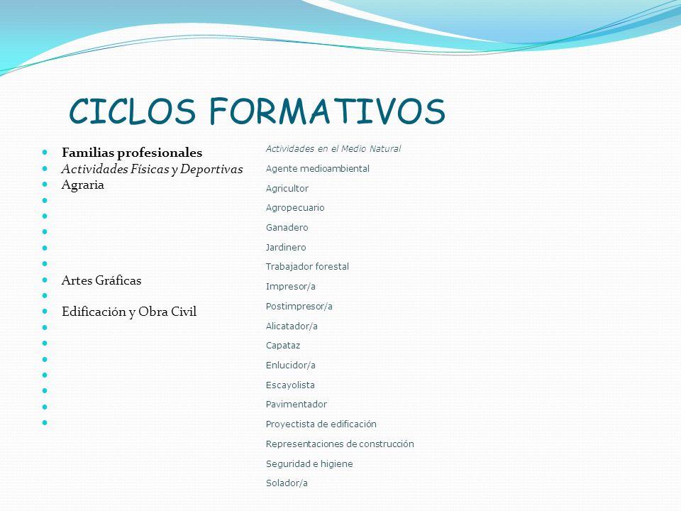 CICLOS FORMATIVOS Familias profesionales Actividades Físicas y Deportivas Agraria Artes Gráficas Edificación y Obra Civil Actividades en el Medio Natu