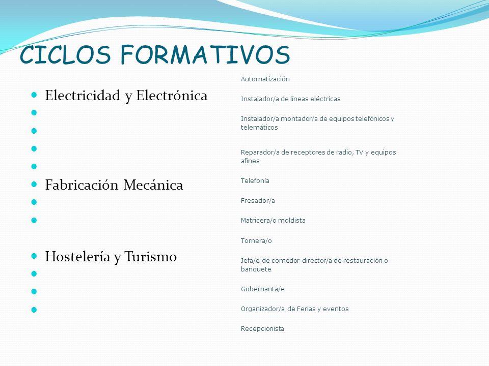 CICLOS FORMATIVOS Electricidad y Electrónica Fabricación Mecánica Hostelería y Turismo Automatización Instalador/a de líneas eléctricas Instalador/a m