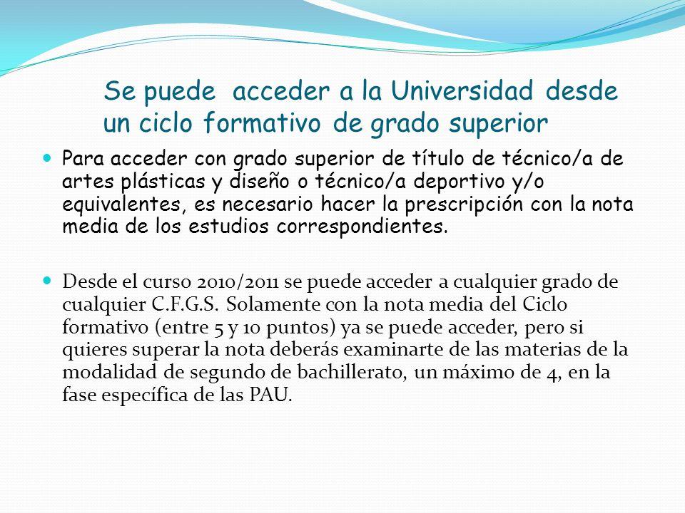 Se puede acceder a la Universidad desde un ciclo formativo de grado superior Para acceder con grado superior de título de técnico/a de artes plásticas