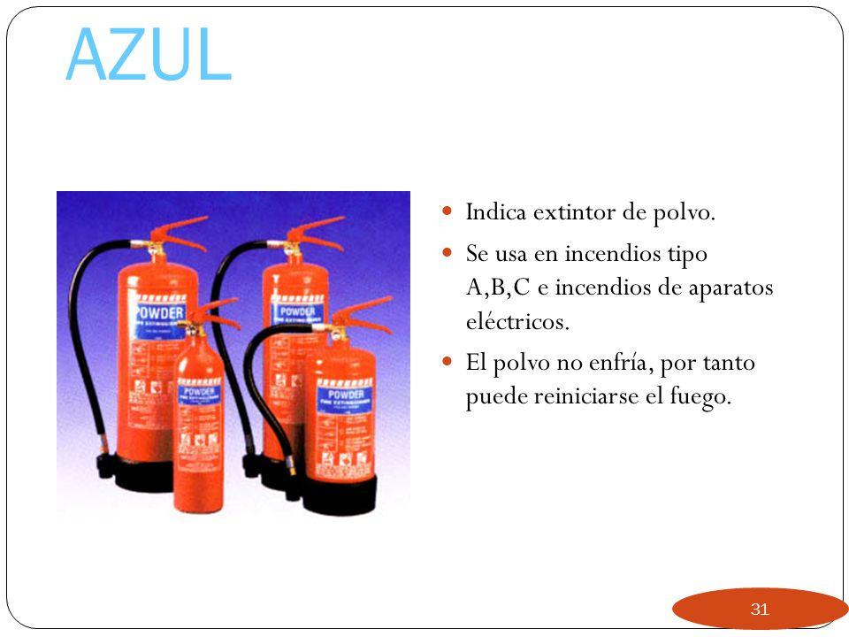 Rojo Indica extintor de agua. Se usa en incendios de Tipo A. 30