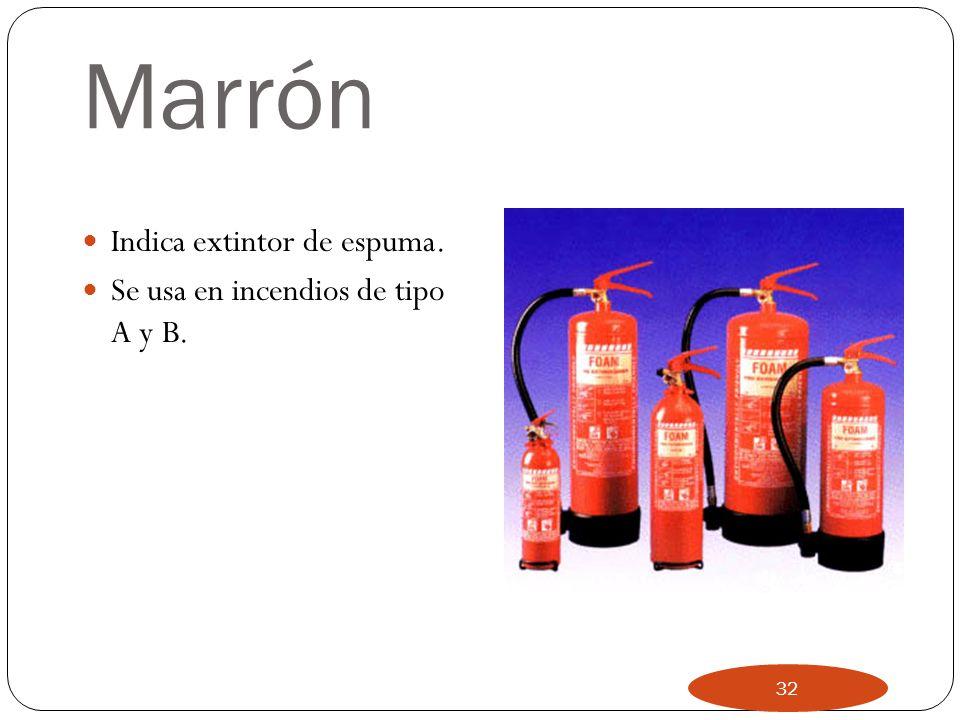 AZUL Indica extintor de polvo. Se usa en incendios tipo A,B,C e incendios de aparatos eléctricos. El polvo no enfría, por tanto puede reiniciarse el f