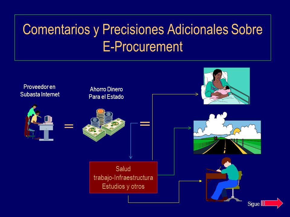 Comentarios y Precisiones Adicionales Sobre E-Procurement Proveedor en Subasta Internet Ahorro Dinero Para el Estado = = Salud trabajo-Infraestructura