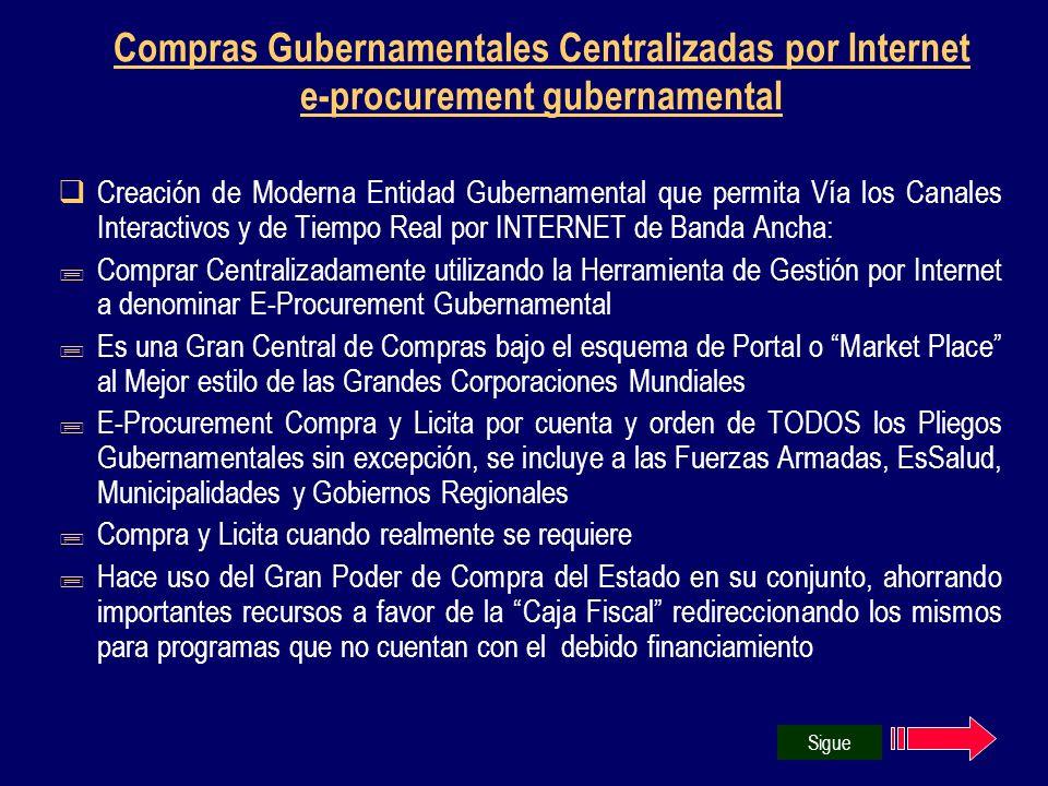 Compras Gubernamentales Centralizadas por Internet e-procurement gubernamental Creación de Moderna Entidad Gubernamental que permita Vía los Canales I