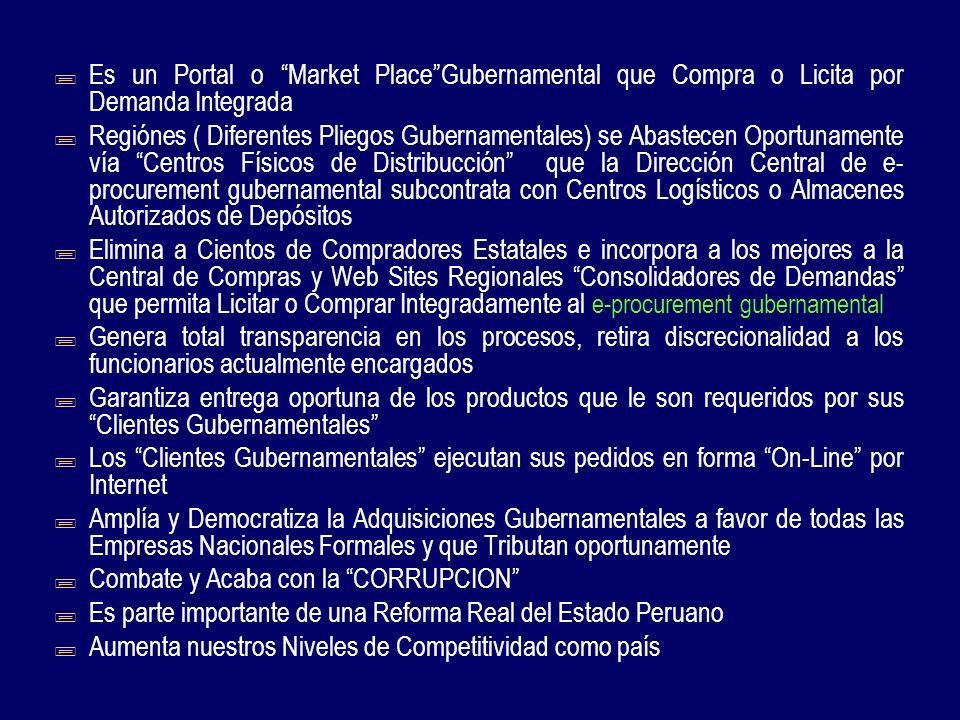 Gran Servidor Central de www.e- peru.gob.pe Aloja e-procurement Gubernamental Gerencia la Demanda Integral de Clientes Gubernamentales e-procurement Compra por Volumen Integra la Demanda de Productos de Acuerdo a los Catálogos Electrónicos On-Line Y Licita cuando realmente Necesita Aprovisionarse para Atender Oportunamente a sus Clientes Gubernamentales Regionales Portal Central Supervisa y Audita Proceso de Compras Y Licitaciones On-Line Transparencia Total GOBIERNO INTELIGENTE REFORMA CON TECNOLOGIA DE PUNTA ESTADO PERUANO IDEA GLOBAL DE e-procurement