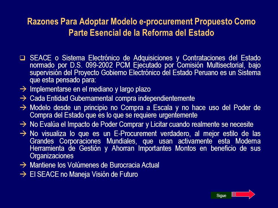 Razones Para Adoptar Modelo e-procurement Propuesto Como Parte Esencial de la Reforma del Estado SEACE o Sistema Electrónico de Adquisiciones y Contra