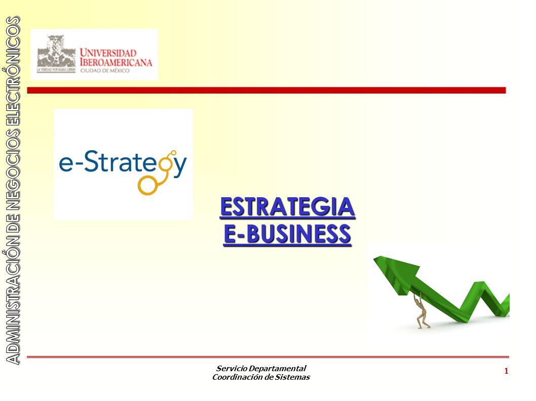 Servicio Departamental Coordinación de Sistemas 2 OBJETIVOS 1.Conocer los factores clave en el diseño de una estrategia E-Business.