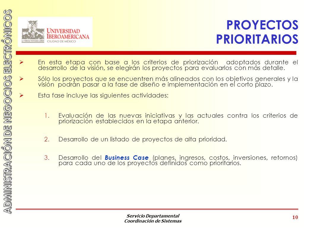 Servicio Departamental Coordinación de Sistemas 10 PROYECTOS PRIORITARIOS En esta etapa con base a los criterios de priorización adoptados durante el