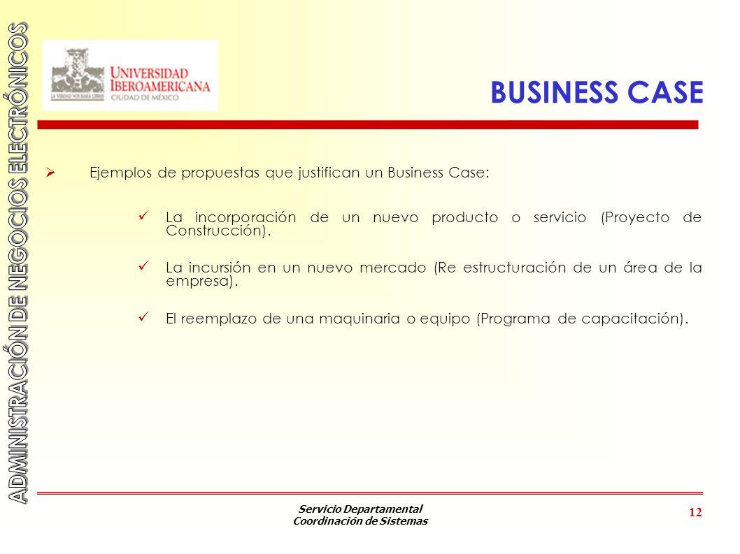 Servicio Departamental Coordinación de Sistemas 12 BUSINESS CASE Ejemplos de propuestas que justifican un Business Case: La incorporación de un nuevo