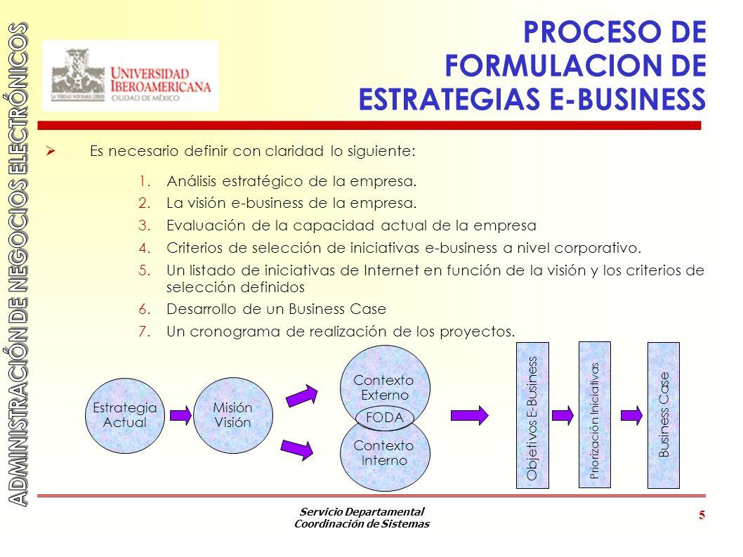 Servicio Departamental Coordinación de Sistemas 5 PROCESO DE FORMULACION DE ESTRATEGIAS E-BUSINESS Es necesario definir con claridad lo siguiente: 1.A