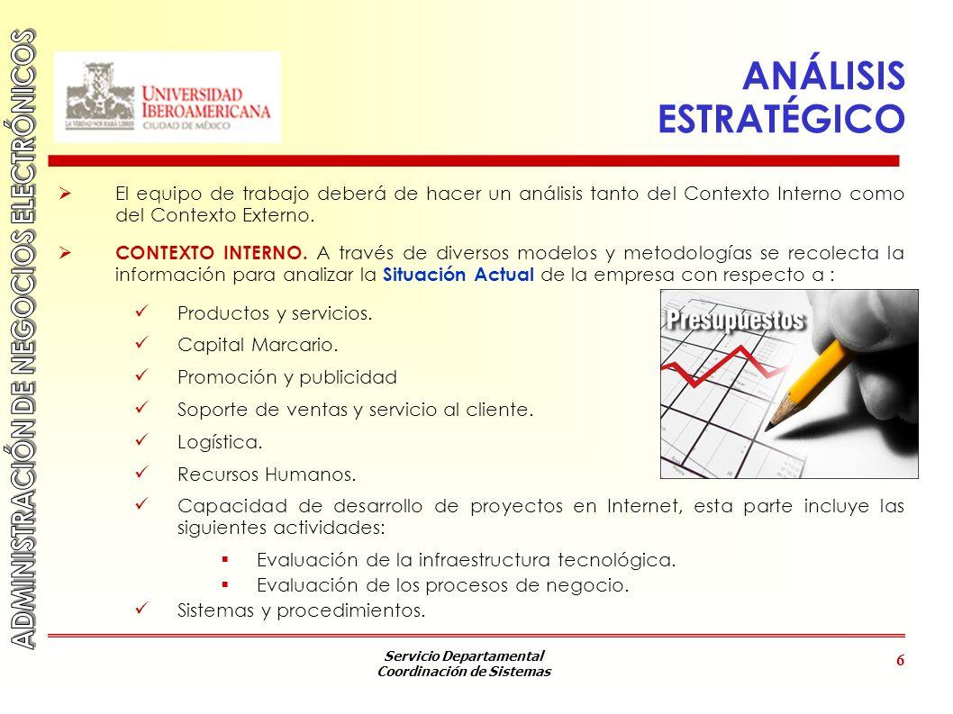 Servicio Departamental Coordinación de Sistemas 6 ANÁLISIS ESTRATÉGICO El equipo de trabajo deberá de hacer un análisis tanto del Contexto Interno com