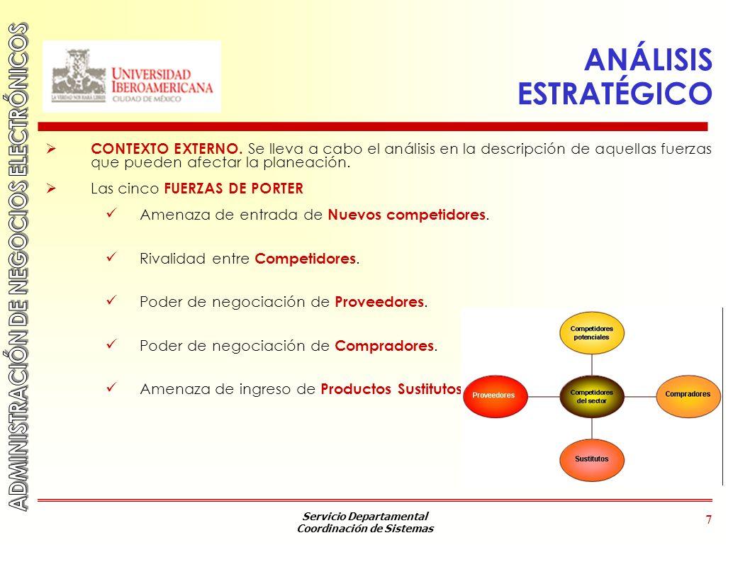 Servicio Departamental Coordinación de Sistemas 7 ANÁLISIS ESTRATÉGICO CONTEXTO EXTERNO. Se lleva a cabo el análisis en la descripción de aquellas fue