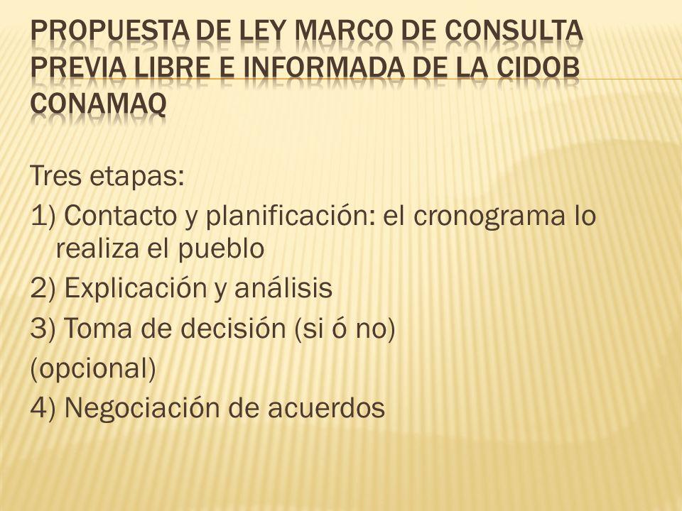 Tres etapas: 1) Contacto y planificación: el cronograma lo realiza el pueblo 2) Explicación y análisis 3) Toma de decisión (si ó no) (opcional) 4) Negociación de acuerdos