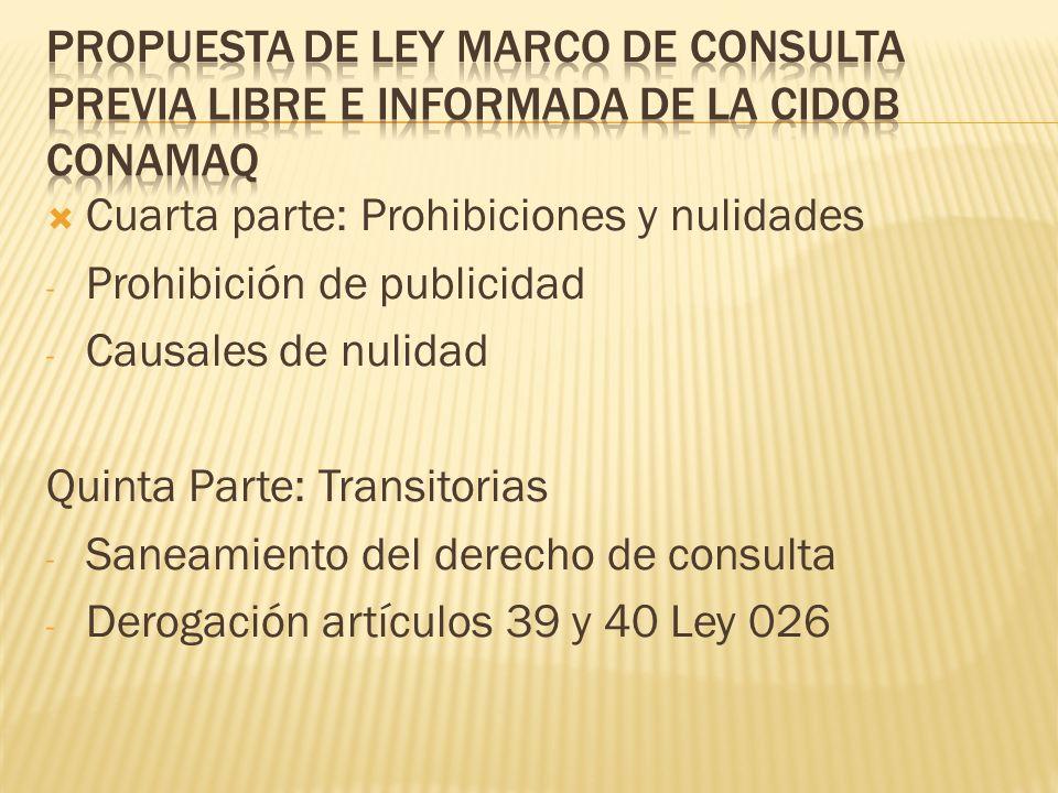 Cuarta parte: Prohibiciones y nulidades - Prohibición de publicidad - Causales de nulidad Quinta Parte: Transitorias - Saneamiento del derecho de consulta - Derogación artículos 39 y 40 Ley 026