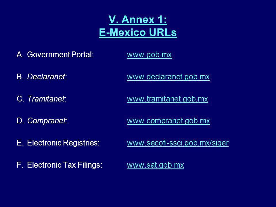 V. Annex 1: E-Mexico URLs A.Government Portal:www.gob.mxwww.gob.mx B.Declaranet:www.declaranet.gob.mxwww.declaranet.gob.mx C.Tramitanet:www.tramitanet