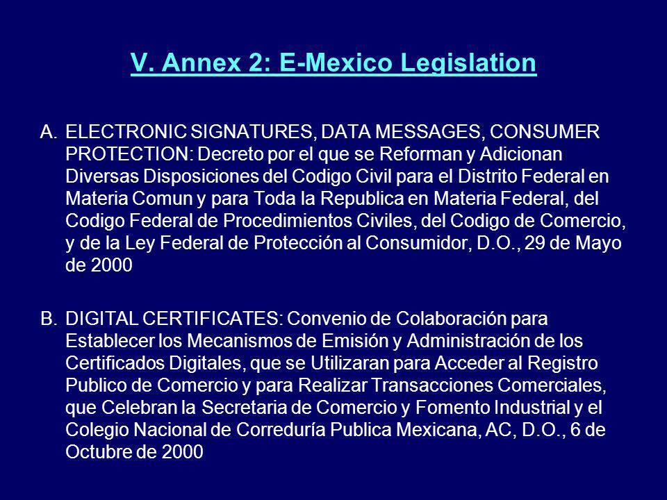V. Annex 2: E-Mexico Legislation A.ELECTRONIC SIGNATURES, DATA MESSAGES, CONSUMER PROTECTION: Decreto por el que se Reforman y Adicionan Diversas Disp