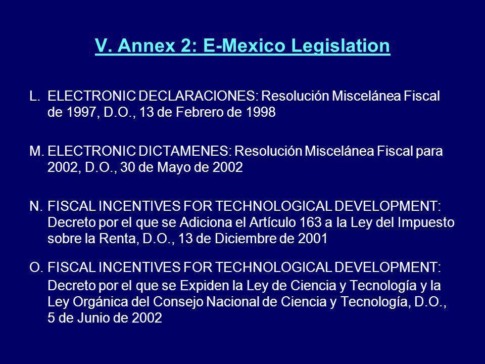 V. Annex 2: E-Mexico Legislation L.ELECTRONIC DECLARACIONES: Resolución Miscelánea Fiscal de 1997, D.O., 13 de Febrero de 1998 M.ELECTRONIC DICTAMENES