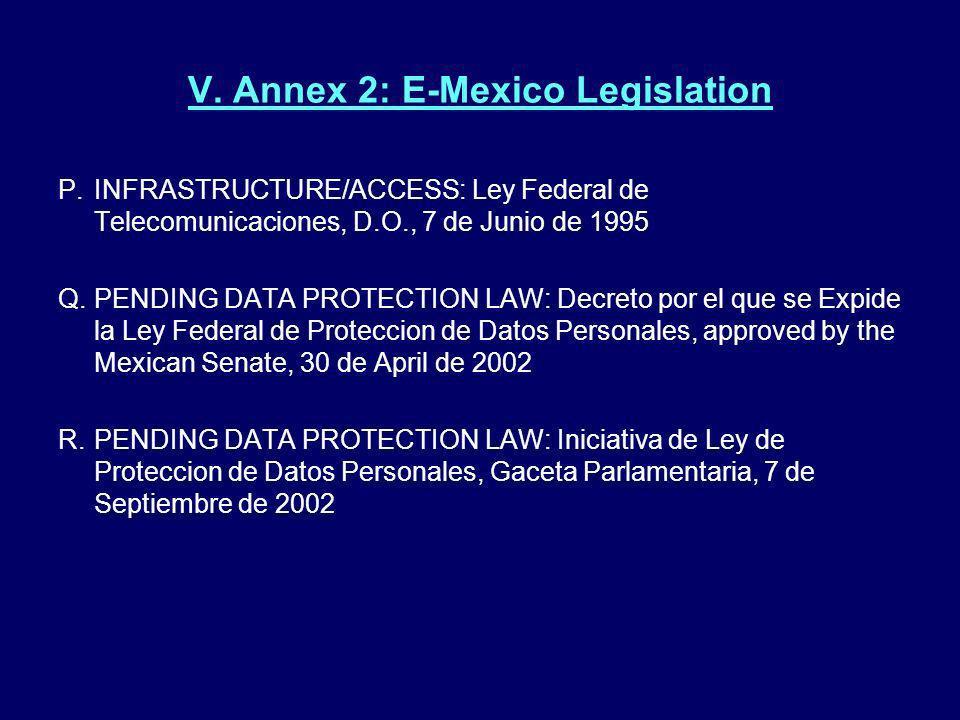 V. Annex 2: E-Mexico Legislation P.INFRASTRUCTURE/ACCESS: Ley Federal de Telecomunicaciones, D.O., 7 de Junio de 1995 Q. PENDING DATA PROTECTION LAW: