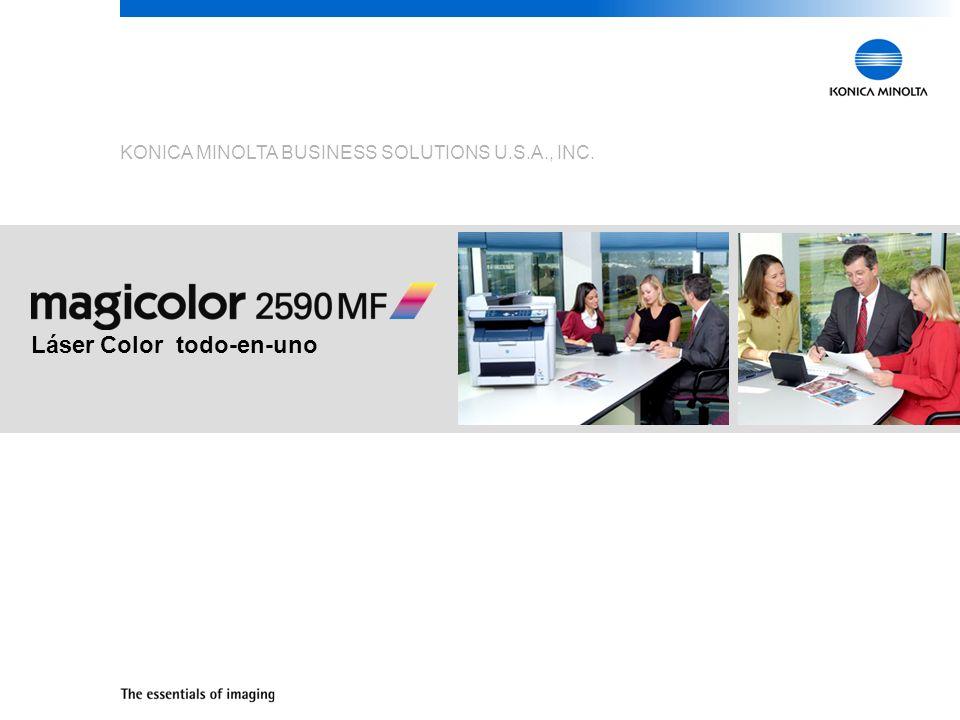 21 magicolor 2590MF Se adapta a cualquier ambiente de oficina Peso (sin consumibles): 63.1 lbs Peso (con consumibles): 70.4 lbs Dimensiones (Ancho x Profundidad x Alto): 20.8 x 23.1 x 20.9 20.8 20.9