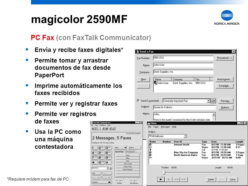 14 Hasta 33.6 Kbps ECM, Super G3 Estándar, Fino, Super fino, 4 MB Cama plana o ADF Sí; a tamaño del papel colocado 100 9 9 grupos; 50 destinatarios/gr