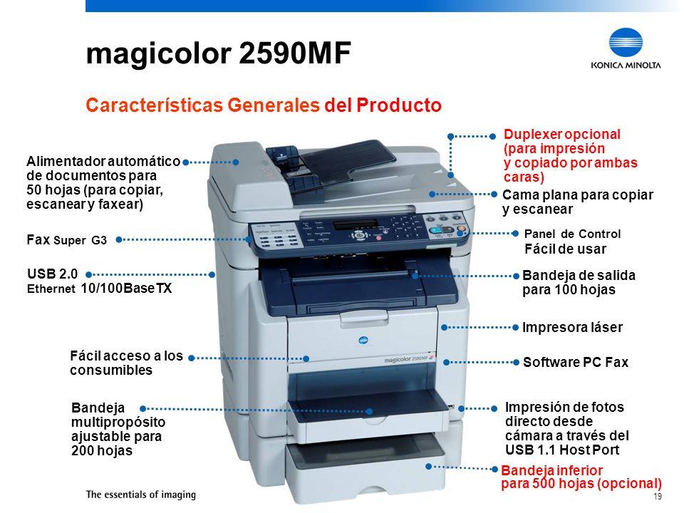 18 Perfectas para SOHO y SMB magicolor 2590MF Para organizaciones en busca de un producto que solucione sus funciones esenciales de negocio Oficinas e