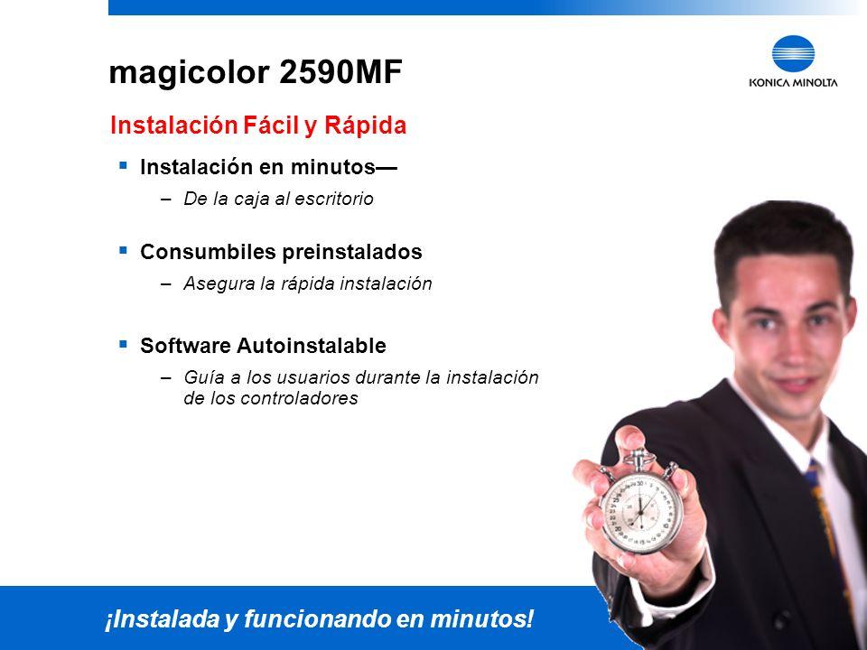21 magicolor 2590MF Se adapta a cualquier ambiente de oficina Peso (sin consumibles): 63.1 lbs Peso (con consumibles): 70.4 lbs Dimensiones (Ancho x P