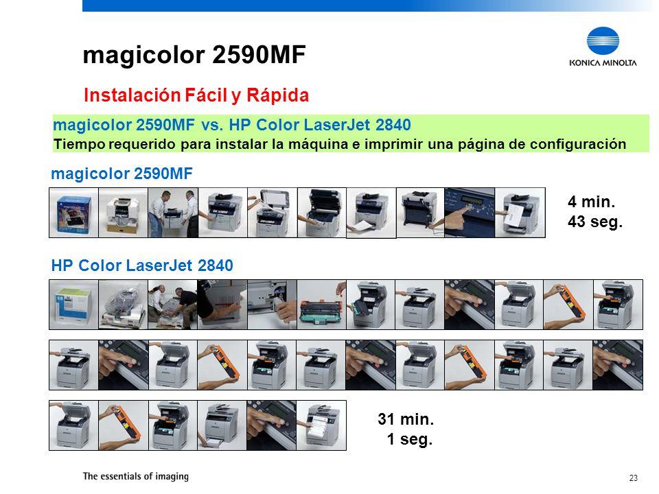 22 magicolor 2590MF Instalación Fácil y Rápida Instalación en minutos –De la caja al escritorio Consumbiles preinstalados –Asegura la rápida instalaci