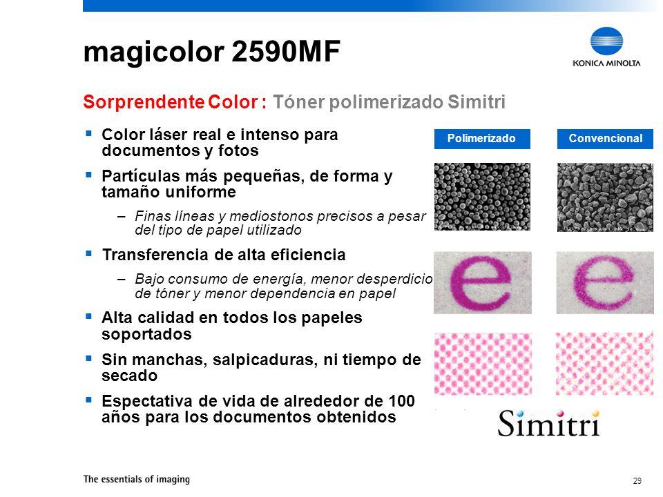 28 magicolor 2590MF Calidad de impresión: 2400 dpi – Documentos y fotos con colores brillantes y reales Todas las resoluciones se imprimen a la máxima