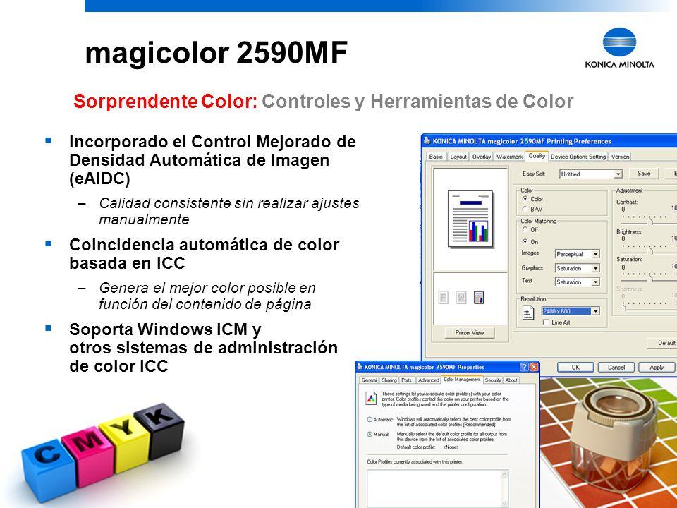 29 magicolor 2590MF Sorprendente Color : Tóner polimerizado Simitri Color láser real e intenso para documentos y fotos Partículas más pequeñas, de for