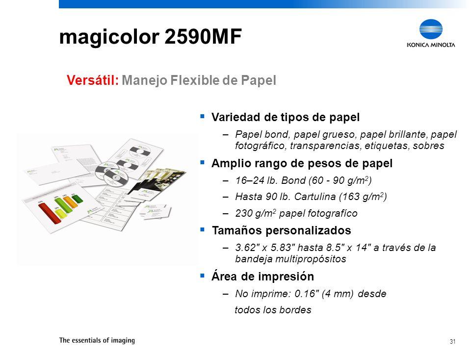 30 magicolor 2590MF Sorprendente Color: Controles y Herramientas de Color Incorporado el Control Mejorado de Densidad Automática de Imagen (eAIDC) –Ca