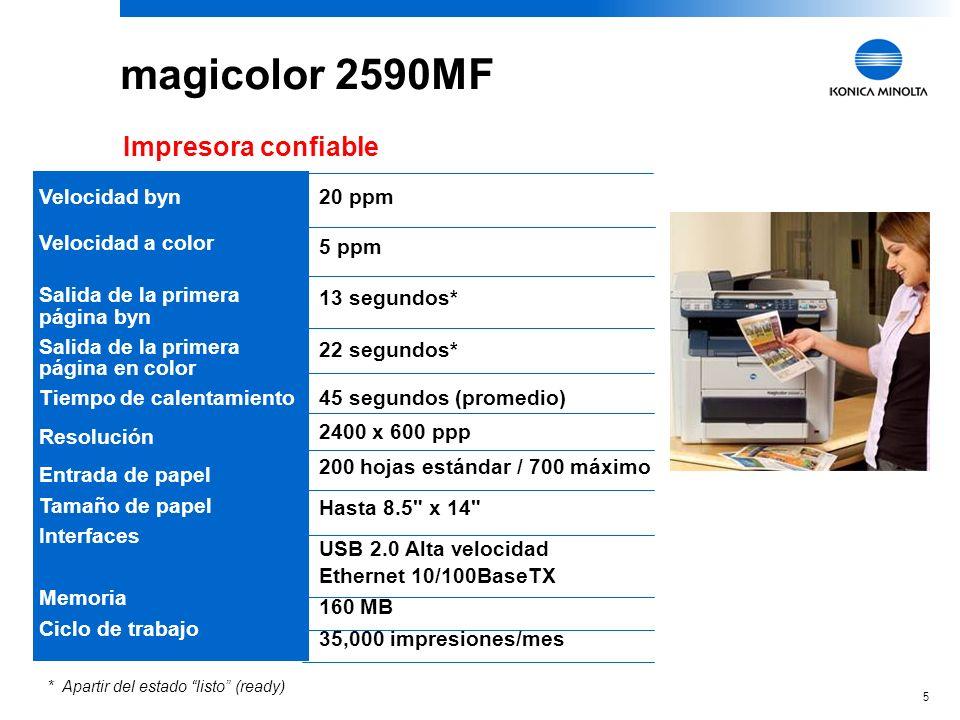5 20 ppm 5 ppm 13 segundos* 22 segundos* 45 segundos (promedio) 2400 x 600 ppp 200 hojas estándar / 700 máximo Hasta 8.5 x 14 USB 2.0 Alta velocidad Ethernet 10/100BaseTX 160 MB 35,000 impresiones/mes magicolor 2590MF Impresora confiable * Apartir del estado listo (ready) Velocidad byn Velocidad a color Salida de la primera página byn Salida de la primera página en color Tiempo de calentamiento Resolución Entrada de papel Tamaño de papel Interfaces Memoria Ciclo de trabajo