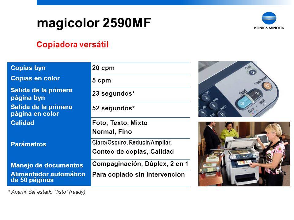 36 magicolor 2590MF Láser Color todo-en-uno con ventajas competitivas Funciones comerciales esenciales en una unidadImpresión, copiado, escaneo, fax independiente, PC Fax e impresión de fotos directo desde cámara Rápida velocidad de impresión/copiado para satisfacer las demandas de oficina20 ppm byn, 5 ppm en color Precio accesible para características múltiplesSolamente $ Impresión láser de calidad 2400 dpi Documentos con colores asombrosos Tamaño compacto y diseño modernoApropriado para cualquier oficina Instalación fácil y rápidafuncionando en minutos Soporte PictBridgeImpresión de fotos directo desde cámara Soporte técnico 24/7 Respuestas sin espera Manejo flexible de papel y dúplex automático opcional Para satisfacer todos los requerimientos de sus documentos