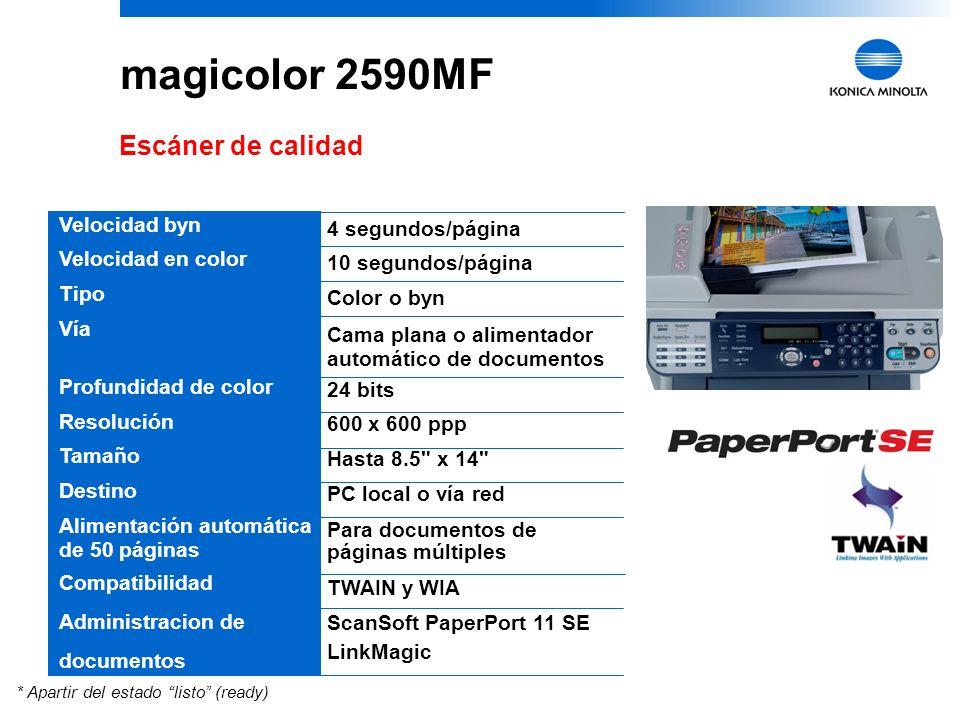 8 Escáner de calidad Velocidad byn Velocidad en color Tipo Vía Profundidad de color Resolución Tamaño Destino Alimentación automática de 50 páginas Compatibilidad Administracion de documentos 4 segundos/página 10 segundos/página Color o byn Cama plana o alimentador automático de documentos 24 bits 600 x 600 ppp Hasta 8.5 x 14 PC local o vía red Para documentos de páginas múltiples TWAIN y WIA ScanSoft PaperPort 11 SE LinkMagic * Apartir del estado listo (ready)