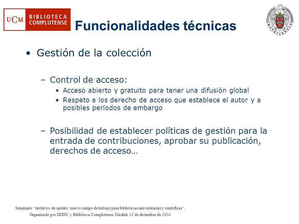 Seminario Archivos de eprints: nuevo campo de trabajo para bibliotecas universitarias y científicas.